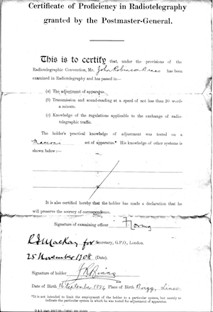 Binns' Certificate after completing the Marconi course in radiotelegraphy